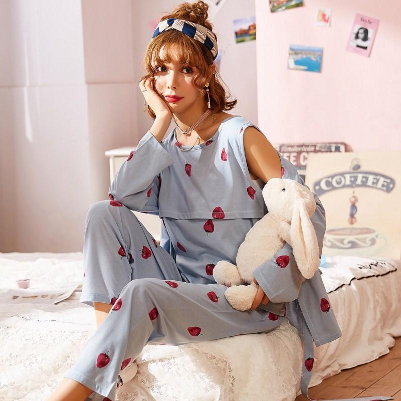 47a81f1a0 Compre Mulheres Grávidas Pijamas De Algodão Pós Parto Em Casa De Enfermagem  Amamentação Materna Roupas De Lactação Ternos Primavera Pijamas De Henryk