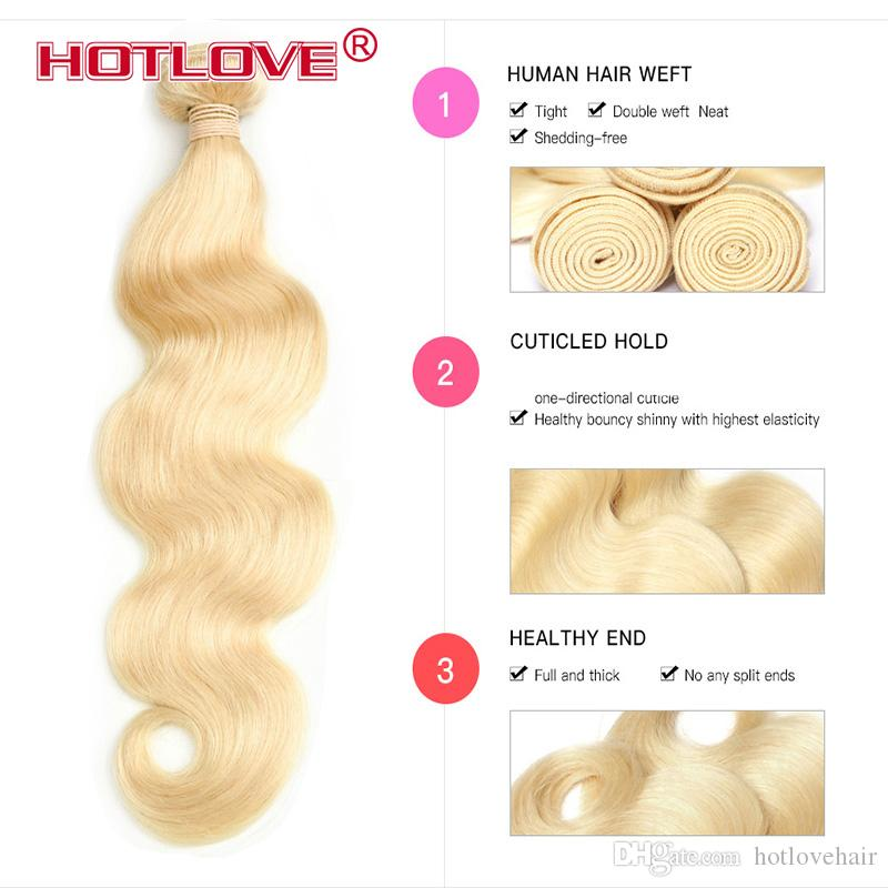 Pre-Colored Virgin Human Hair Weave #613 Brazilian Body Wave 4 Blonde Bundles With 4x4 Lace Closure Baby Hair Total