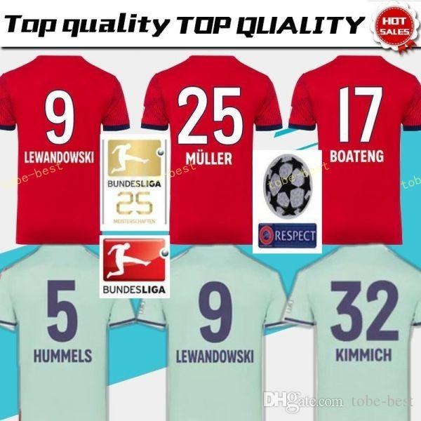 wholesale dealer c88bd ef5f4 2018 2019 Bundesliga Soccer Bayern Munich Jersey Men 9 LEWANDOWSKI 10  ROBBEN 11 JAMES 25 MULLER 5 HUMMELS Football Shirt Kits Red Green