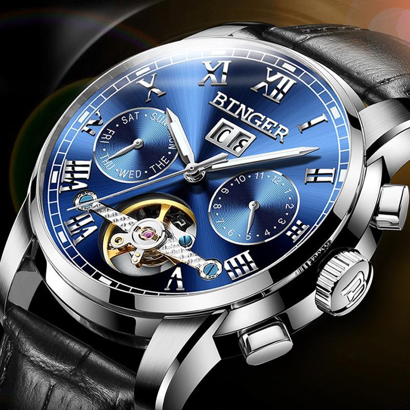 b9b6ab076543 Швейцария BINGER Марка часы мужчины автоматические механические наручные  часы ...