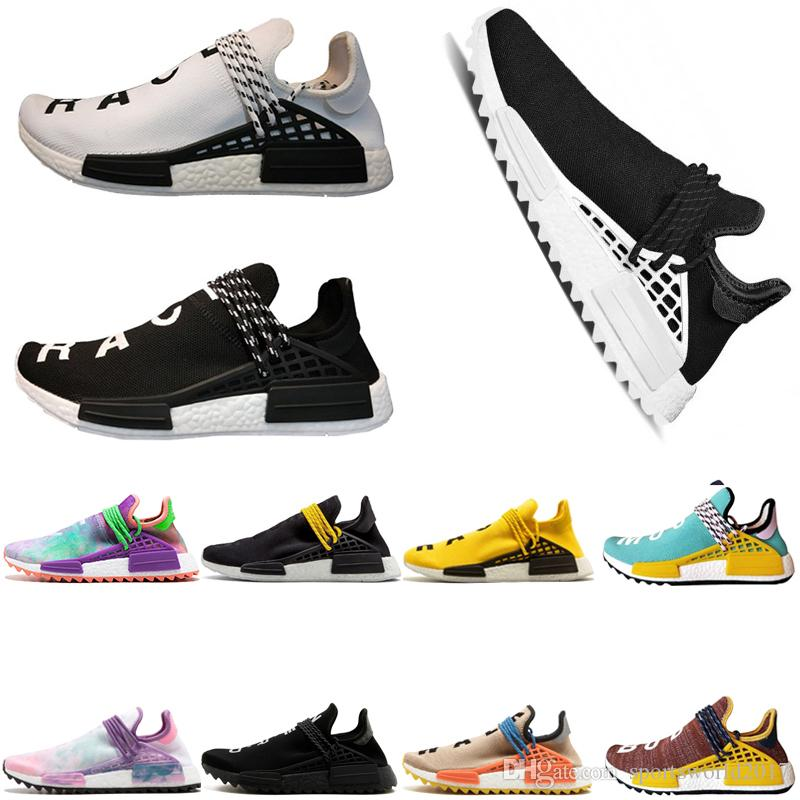 premium selection ee66e bdca1 Großhandel Adidas Originals Human Race Hu NMD Trail MD PW Human Rennen Pharrell  Williams Hu Trail NERD Herren Damen Laufschuhe Edle Inkyellow MEN Sport ...