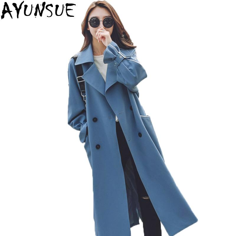 93ce30b5d AYUSNUE 2018 New Fashion Chic Double Breasted Long Trench Coat Women Blue  Belt Windbreaker Female Overcoat Abrigos Mujer LX1922