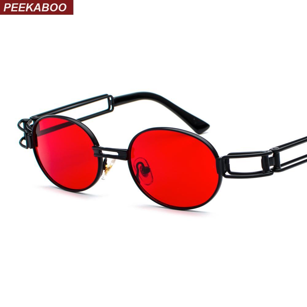 786e58b1d7db6 Compre Peekaboo Retro Oval Óculos De Sol Dos Homens Retro 2019 Preto Lente  Matiz Vermelho Mulheres Rodada Óculos De Sol Para Homens Steampunk Armação  De ...
