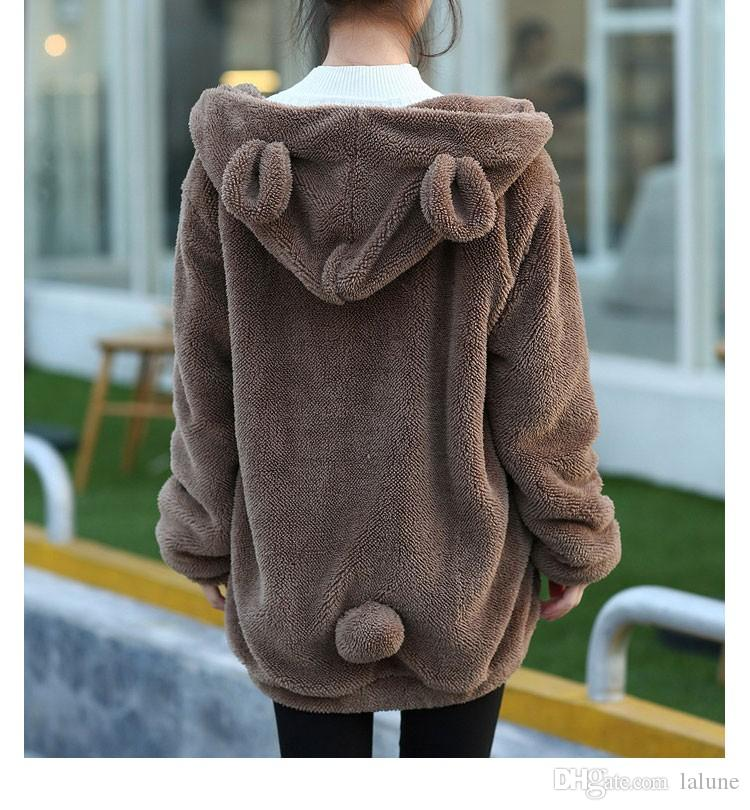 Hot Sale Women Hoodies Zipper Girl Winter Loose Fluffy Bear Ear Hoodie Hooded Jacket Warm Outerwear Coat cute sweatshirt