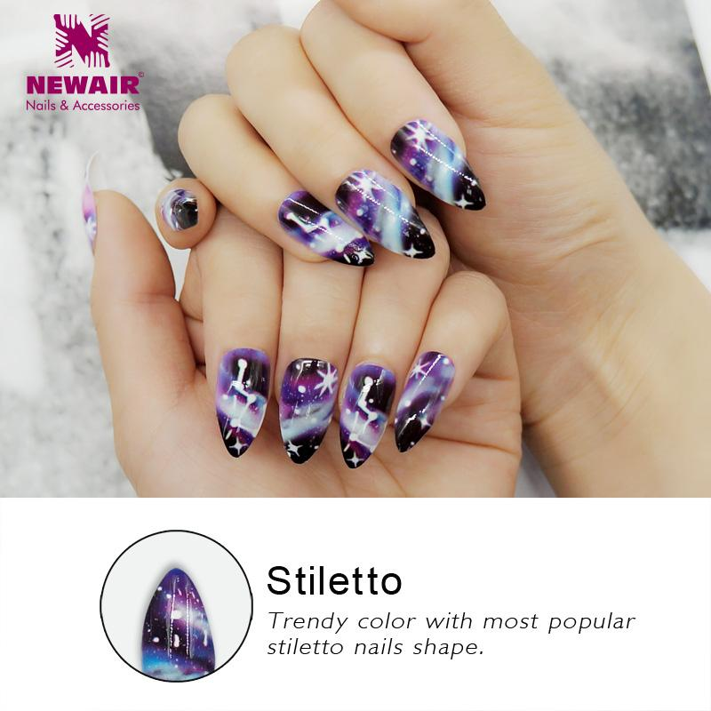 Stiletto False Nails With Designs Long Shining Fake Nail Tips Finger