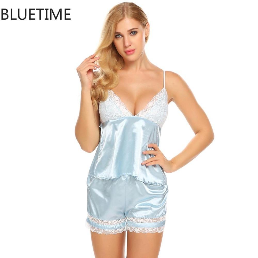 the best attitude c4970 cba58 2018 Sommer Pyjama Set Frauen Satin Sexy Pyjamas Pijama Nachtwäsche  Schlafanzug Nachtwäsche Spitze Home Kleidung Weiß Homewear Nachthemd 45