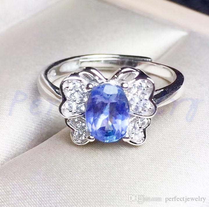ring white wedding natural blue oval engagement gold gemstone tanzanite stone