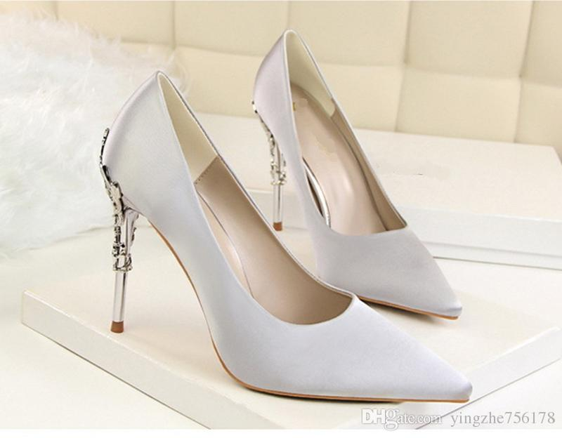 f17e15dcbed Woman Wedding White Satin Shoes Female Fine With Waterproof Platform Bow  Party High Heeled Shoes EU35 40 Bridal Shoes Wide Coloriffics Wedding Shoes  From ...