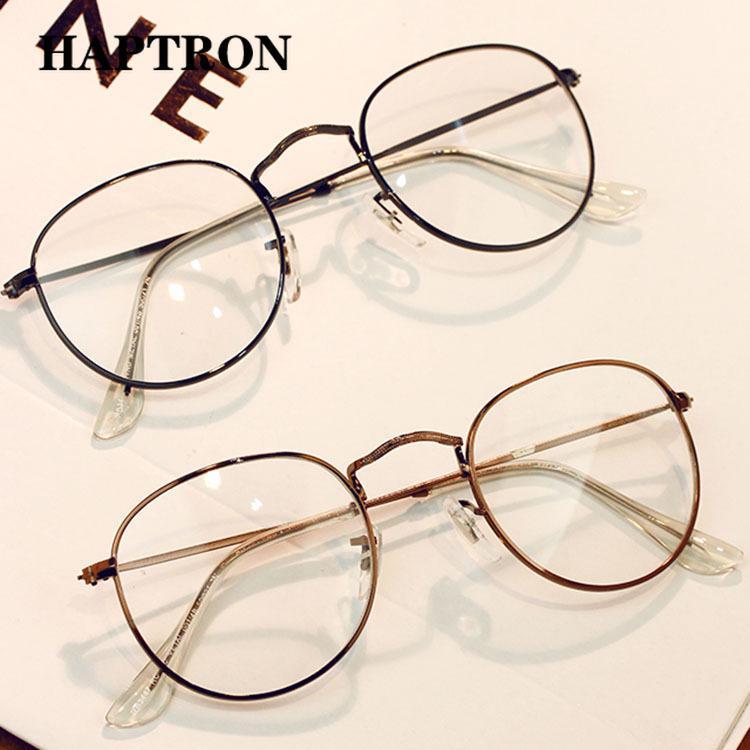 Bekleidung Zubehör 3 Farben Mann Frau Retro Große Runde Brille Transparente Metall Brillen Rahmen Schwarz Silber Gold Brille Brillen Rabatte Verkauf
