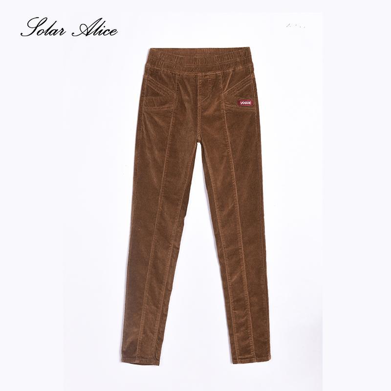 b2e6187173c 2019 SOLAR ALICE Autumn Warm Corduroy Elastic Mid Waist Women Pant Straight  Pants Pocket Plus Size Female Pant From Whitecloth
