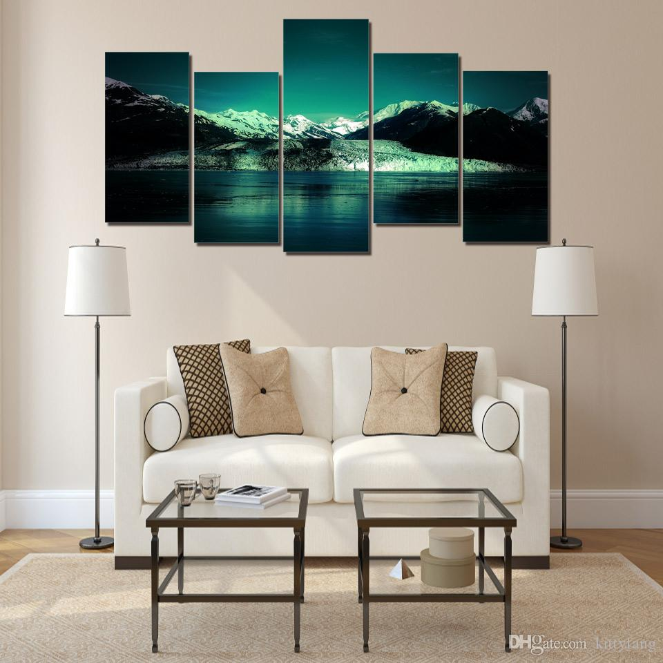 Snow Mountain Lake Poster Printed Wall Art Pictures Canvas Paintings For Living Room Home Decor