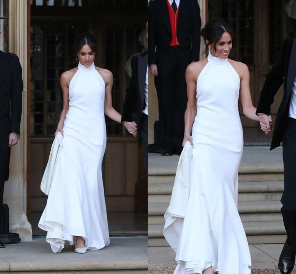 Meghan Markle Wedding Dresses.Elegant White Wedding Dresses 2018 Prince Harry Meghan Markle Wedding Gowns Halter Neck Satin Wedding Recept Dress