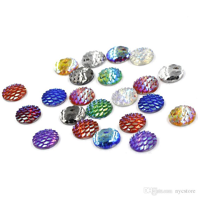 resin Flat fish scales smooth base charms for diy earring pendant Jewelry Findings & Components