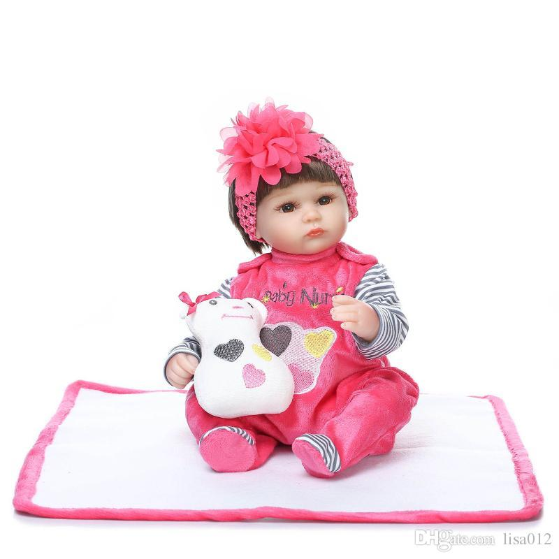 2018 42CM/16.5 Inch Silicone Reborn Dolls Bonecas Baby Reborn Realistic Magnetic Pacifier Bebe Reborn Doll Red Dress Girl Gift