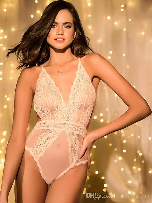 10e4a67157e 2019 Women Sexy Lingerie Bodysuit See Through Lace Teddies Lingerie V Neck  Backless Sleepwear Erotic Body Lingerie Romper Jumpsuit W243011 From  Xinmeigroup