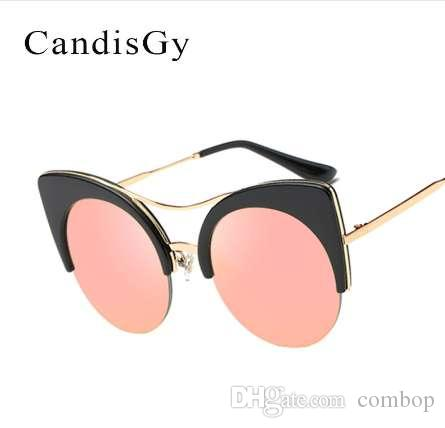 4a3869ce82 Stylish Female Brand Designer Round Oversized Cat Eye Classic Pink Mirror  Cateye Sunglasses Women Party Vintage Lady Sun Glasses Best Sunglasses For  Men ...
