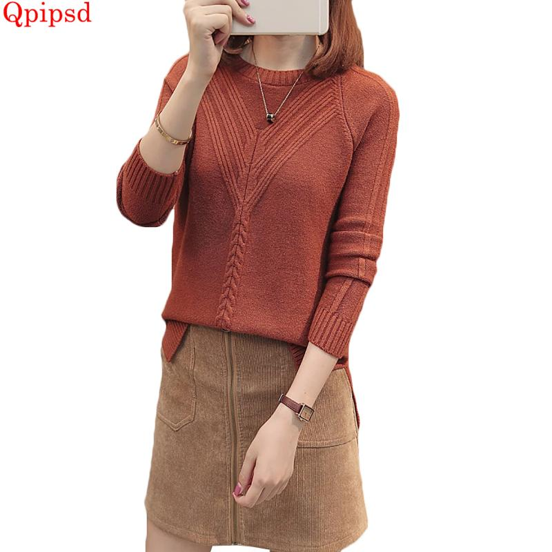 cae445e0d6 2018 Winter Knitting Sweater And Pullover For Women S Tricots Tops Solid Knitwear  Female Jumper Knitted Coat Femme Warm Sweaters S18100902 UK 2019 From ...