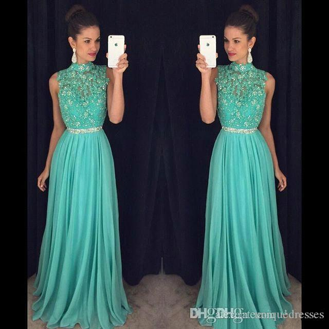 2018 Chiffon Prom Dresses High Neck Lace Crystals Beaded A Line African Black Girl Evening Party Dress Formal Gowns