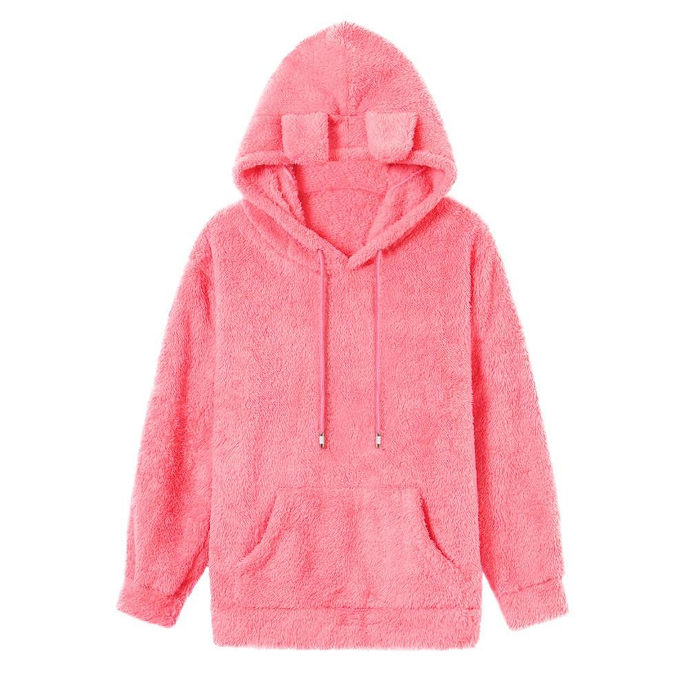 61347b9eb43 Women Autumn Coat Fleece PocketFly Cute Hooded Solid Color Sweatshirts  Women S Plush Big Pocket Hat With Ear Cute Sweatshirts UK 2019 From  Liasheng09
