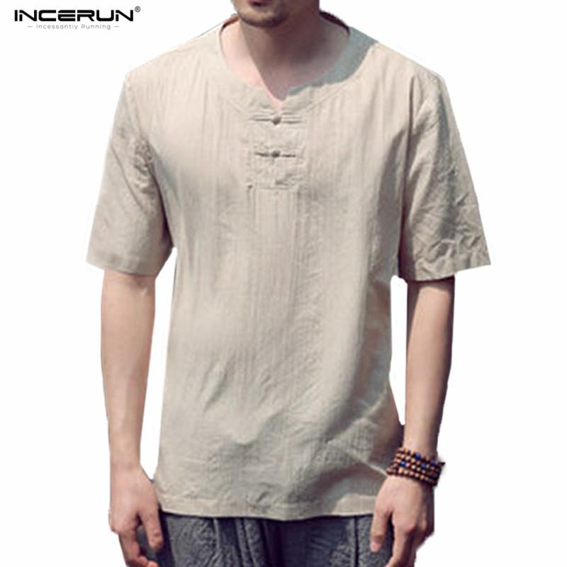 5eb461c172e4 INCERUN Relaxed Collarless Linen T Shirts Short Sleeve Men Casual  Refreshing Breathable Camisa Masculina Flax Summer Tshirt 7 T Shirt Funny  Rude T Shirts ...