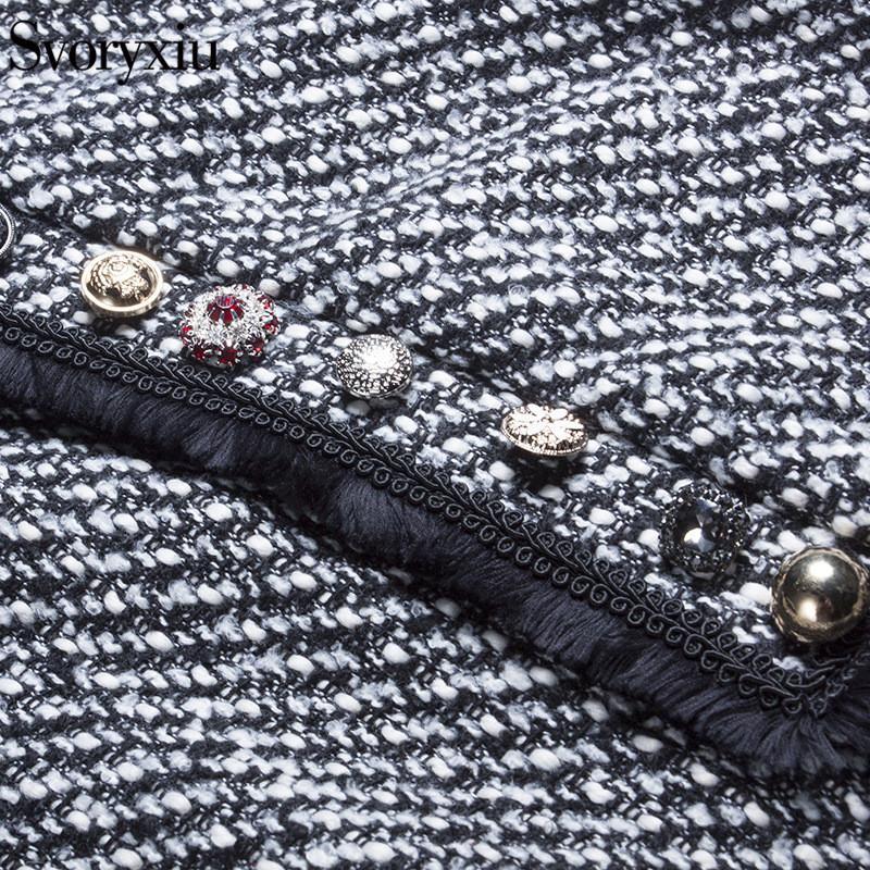 SVORYXIU Capa de Invierno de Alta Calidad Escudo de Diamantes de Las Mujeres Botón de Lana Mezclado Vintage Houndstooth Cloak Outwear