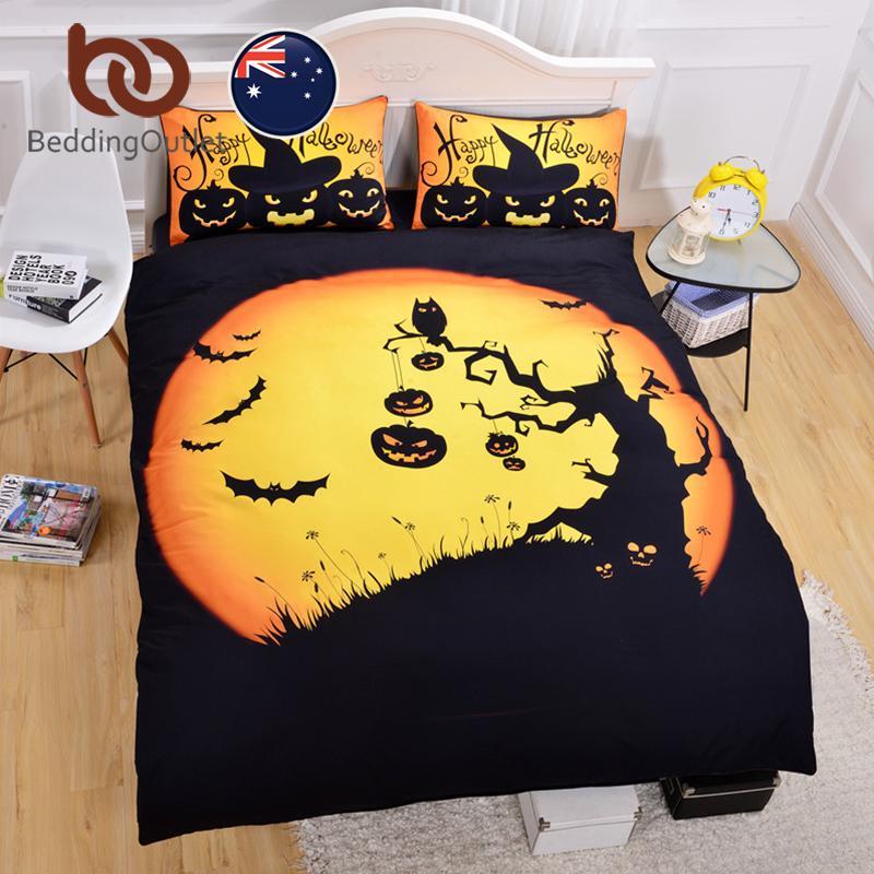 beddingoutlet halloween bedding set black yellow duvet cover with pillowcase quilt cover for gift au size single double queen queen duvet set gray comforter