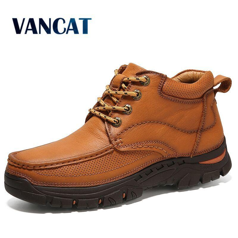 3f534dc37d3 2019 Vancat 2018 Brand Men Boots100% Genuine Leather Men Winter High Top Men  Snow Boots High Quality Cow Leather Warm Ankle Boots Sneakers Motorcycle  Boots ...