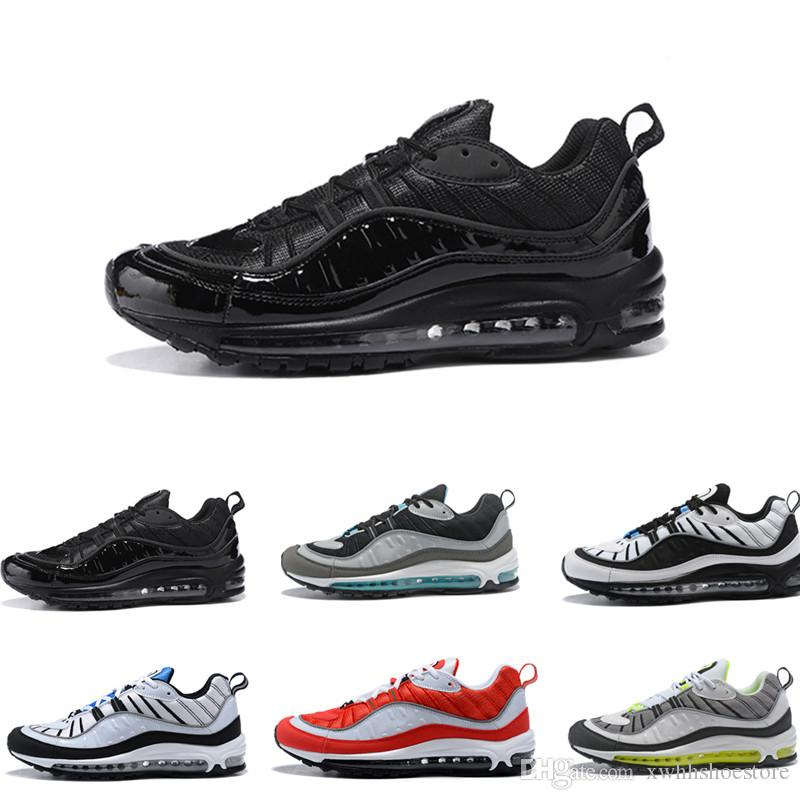 innovative design f8647 782d2 Acheter 2018 98 98s South Beach Thunder Bleu Gundam Cone Hommes Chaussures  De Course Triple Noir Blanc Gym Rouge AOP Tour Jaune Sport Baskets Sneakers  De ...