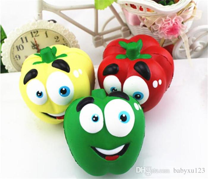 funny Vegetable Squishies Chilli Squishy Pepper Jumbo Slow Rising Fruit Squeeze Green Toy Simulation Chili Y123