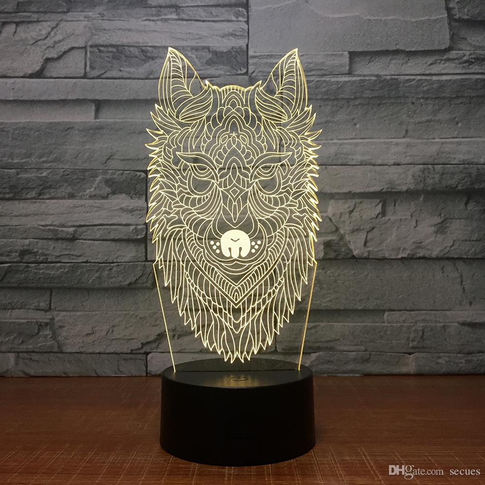 New Wolf 3D Illusion Night Lamp 3D Optical Lamp 5th Battery USB Powered 7 RGB Light DC 5V Wholesale