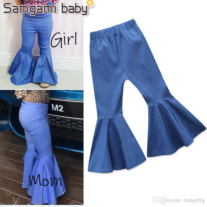 8e43457bf4 Baby Girls Mom Jeans Match Family Pants Big Boot Cut Denim Trousers Ruffle  Parentage Kids Designer Clothes Elastic Middle Waist Spring Fall Boys Size  8 ...