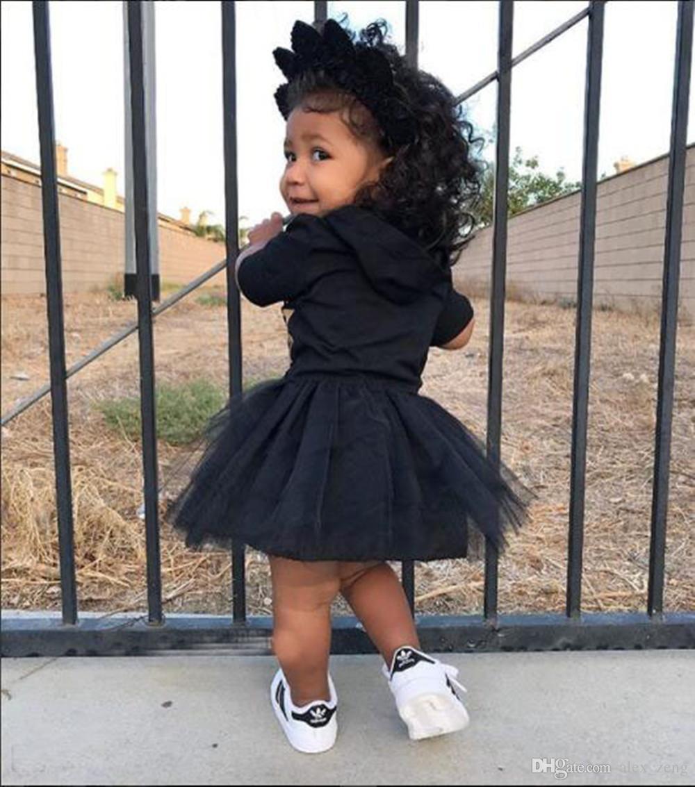 2018 boutique neonate lettera stampa vestito con cappuccio cartoon tutu pizzo principessa abiti bambini abbigliamento spedizione gratuita