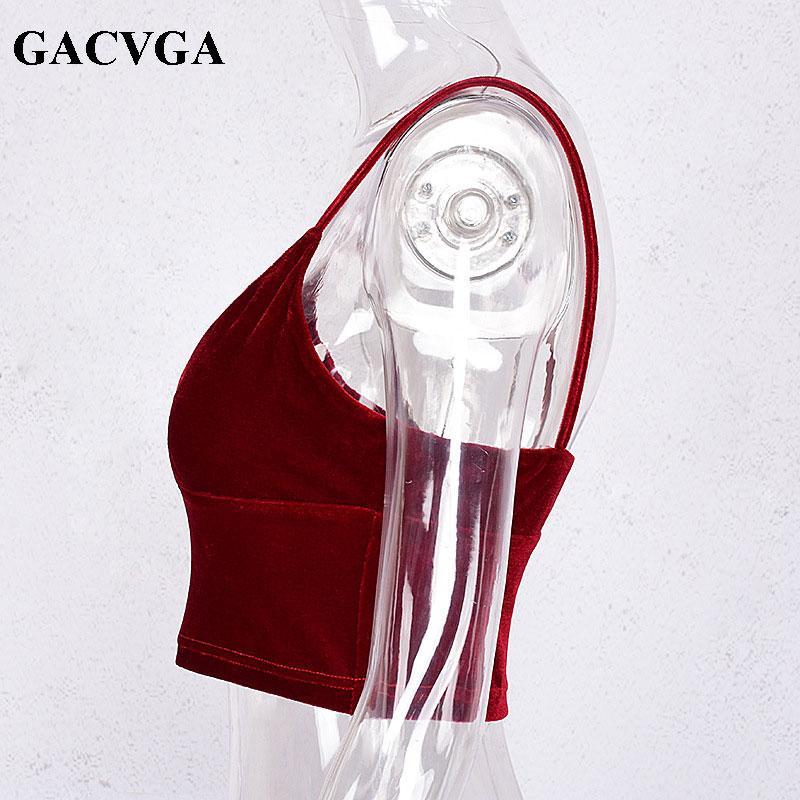 GACVGA marka Seksi kadife v boyun kaşkorse tank top backless askı kırpma üst Vintage sutyen tüp üst Bordo kadınlar blusa tops