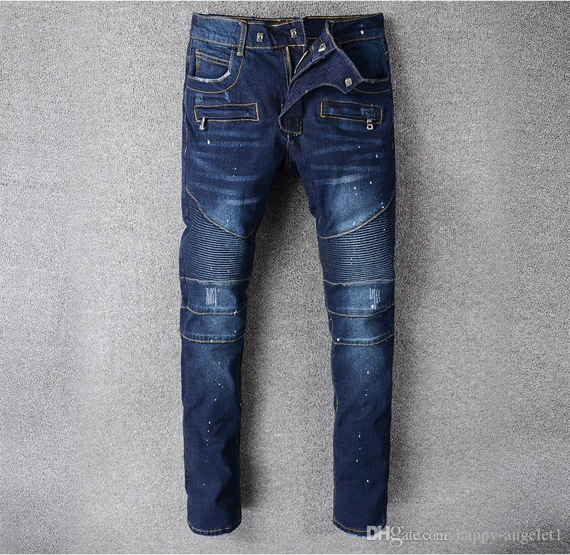 88100# Men's Embellished Ribbed Stretch Moto Pants Oiled Painted Biker Jeans Slim Blue Trousers Size 29-42