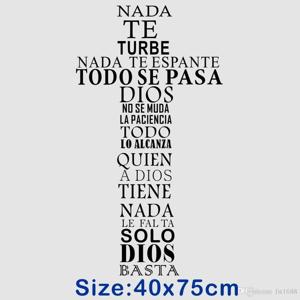Spanish Quote Wall Sticker Christian Cross Vinyl Wall Decal Art Religious Poster for Home Living Room Church Decoration