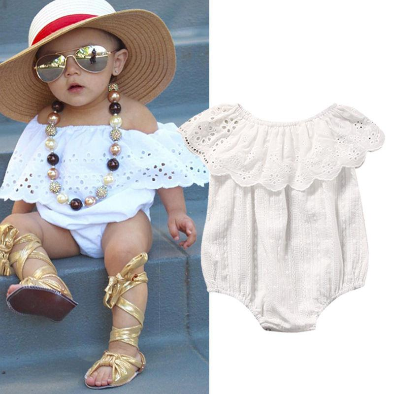 70a536830be4 2019 2017 Cotton Newborn Kids Cute Baby Girl Lace Floral White Summer Short  Sleeve Romper Body Jumpsuit One Pieces Clothes Wear From Ferdimand