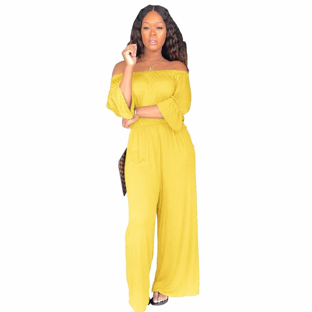 74fc675d65a 2019 Autumn Causal Rompers Womens Jumpsuit Strapless Long Sleeve Ruffle  Backless Party Wide Leg Palazzo Pants Women From Uygapparel