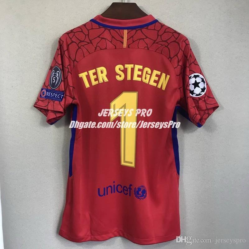 13e532e0bc 2017 2018 Camisas de goleiro Ter Stegen Liga dos Campeões camisas Vermelhas  Clube casa longe terceiro futebol Goalie GK porta homem uniformes kits de  ...