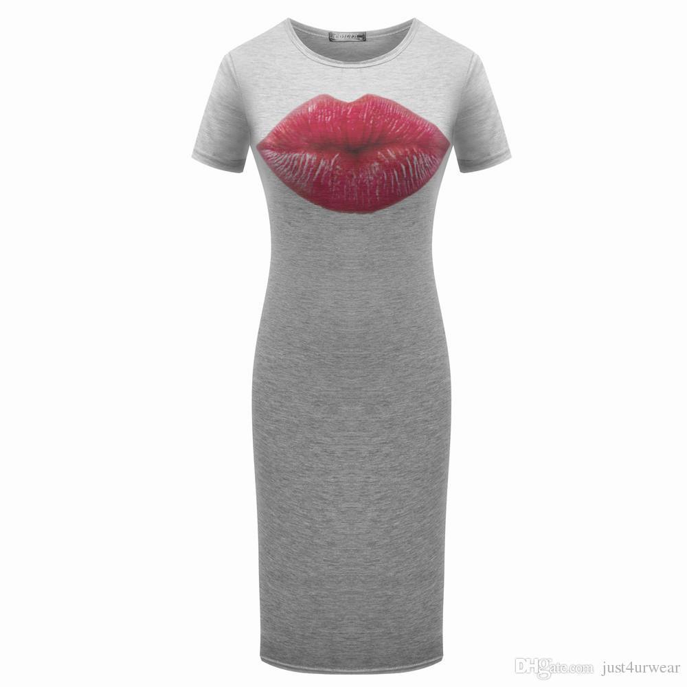 Kadınlar Gri Casual Elbiseler Parmaklar Alkış Kırmızı Dudak Kaplanları Çiçek Baskı Kısa Kollu Kılıf Bodycon Elbiseler Kalem Elbise
