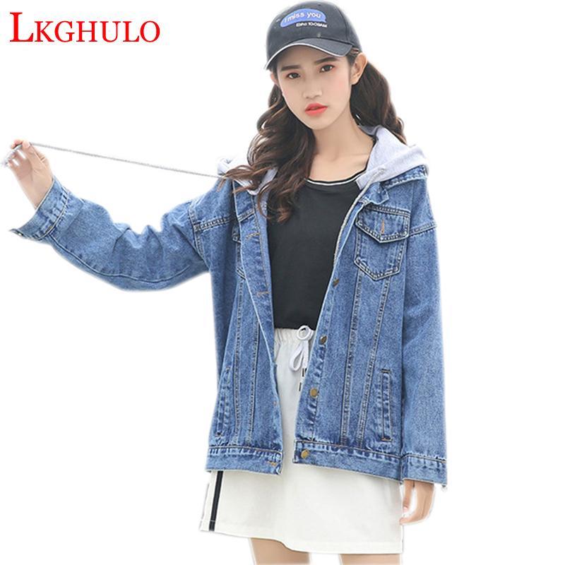 e59796b3299 2018 Ladies Denim Jackets Women Long Sleeve Hooded Jaqueta Jacket Plus Size  Spring Autumn Denim Coat Jeans Outwear XL W333 Leather Jacket Women Women  ...