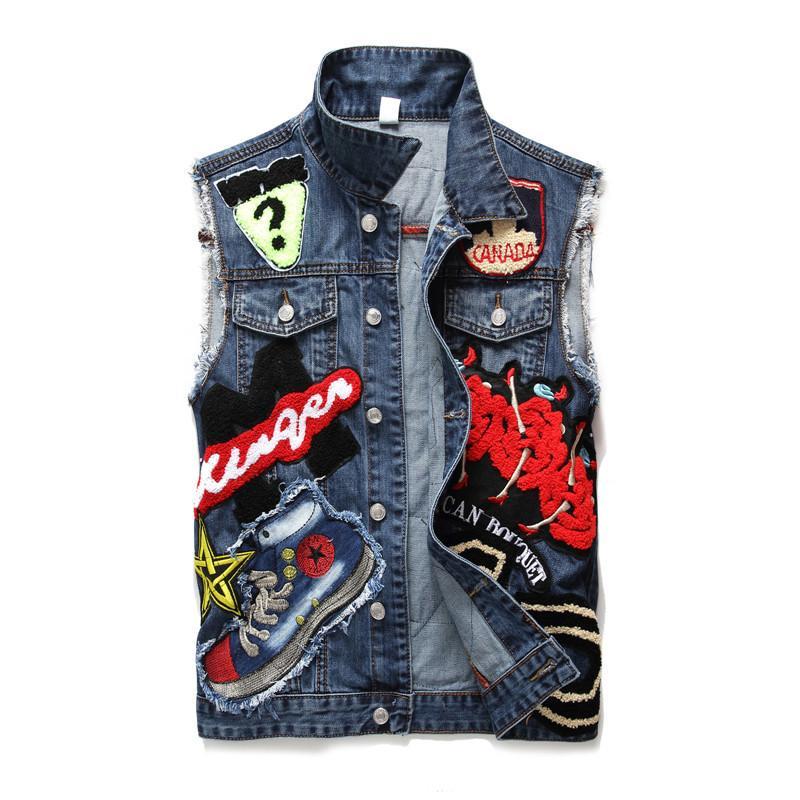 Superbe Acheter Denim Gilet Hommes Broderie Patchwork Slim Jeans Gilet #ME_44