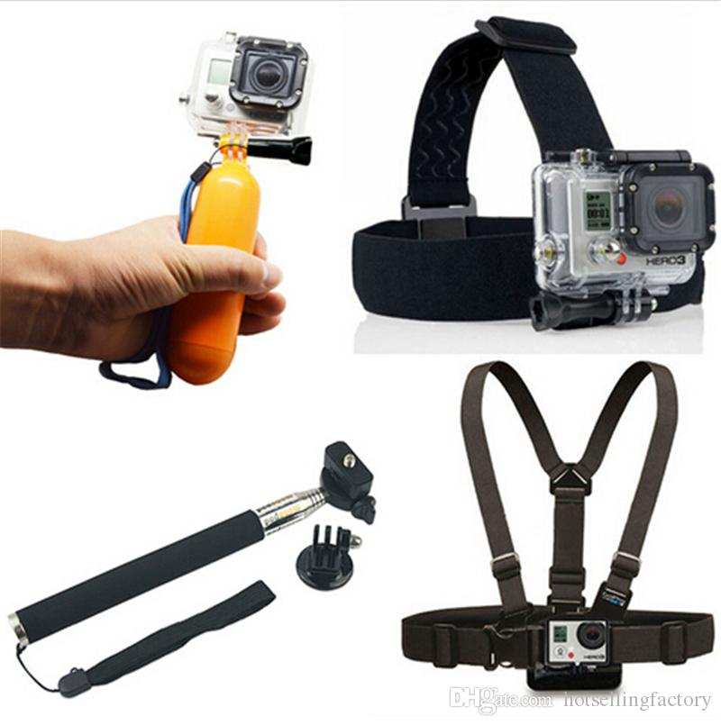 4 in 1 Sports Action Camera Accessories Sport Camera Cam Kit Float Bobber + Handheld Stick + Chest Belt + Head Strap Free DHL