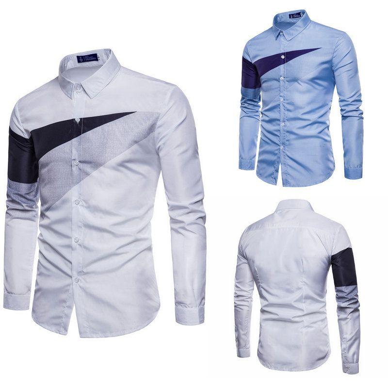 daf1a25cd5 Compre Camisa Estampada De Manga Larga Para Hombres 2018 Camisa Para Hombre  De Nueva Llegada Camisas Informales Para Jóvenes Ocasionales Camisas Para  ...
