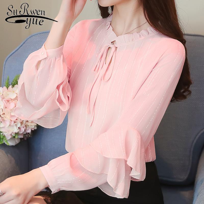 00d2c3466bc 2019 New Autumn Long Sleeve Blouse Shirt Women Tops Fashion Woman Blouses  2018 Chiffon Top Female Blusa Feminina Shirt Women 0968 40 From Marryone