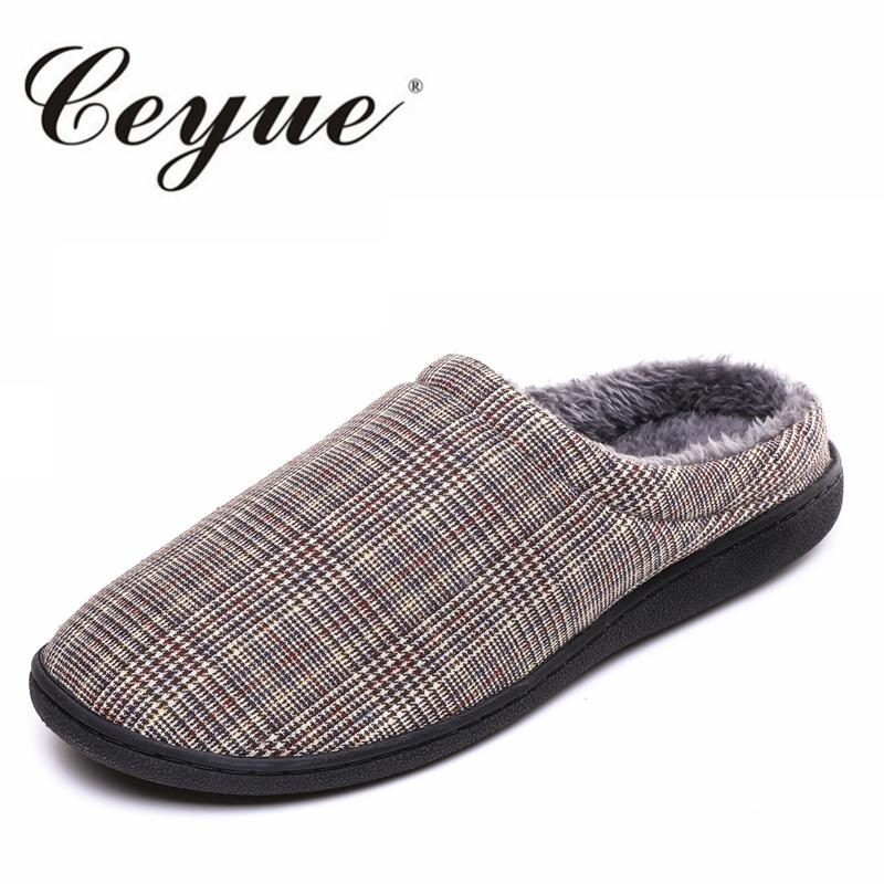 a77d5ea86cb Plush Home Slippers Men Indoor Winter Shoes Warm Furry Soft Slippers Unisex House  Shoes Plaid Male Flats For Bedroom Wedges Shoes Leather Boots From ...