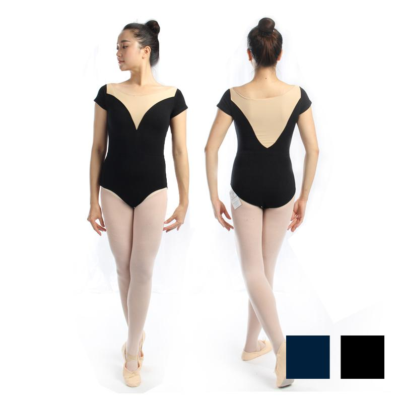 9fbb585037 2018 Adult Short Sleeve Ballet Dance Leotard With Beige Low V Front Black Gymnastic  Leotard Women Ballet Costumes For Girls CS0326 From Biwanrou