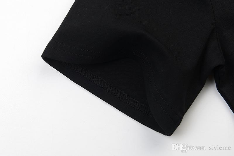 Designer donne della stampa delle magliette 2018 primavera-estate femminile casuale lettera mano Stampe girocollo manica corta nera Plain Tee Tops