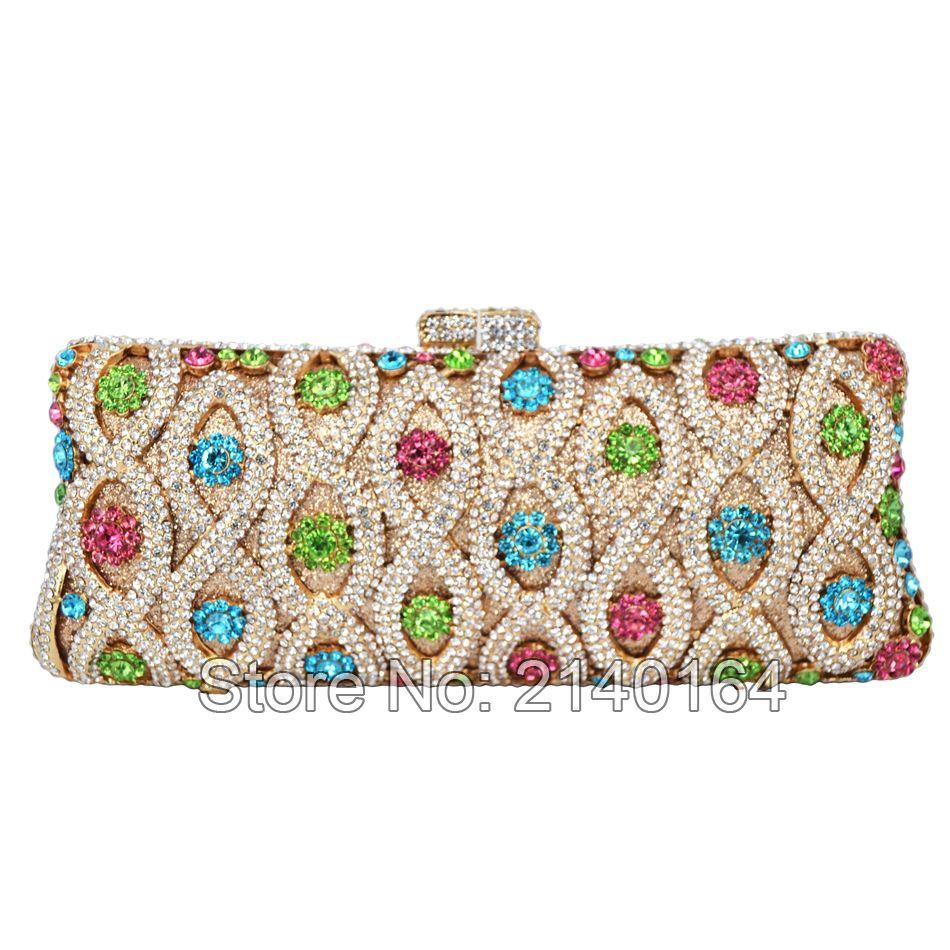 Multi Color Evening Bag Luxury Diamond Crystal Evening Purse Party ... 424bf5601438