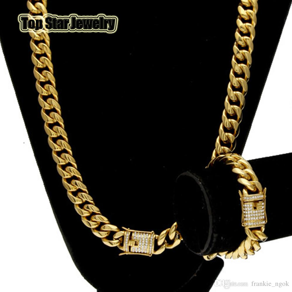 cf1b8eb7abdf9 Stainless Steel Jewelry Sets 18K Gold Plated Casting Dragon Clasp W/Diamond  Cuban Link Necklace & Bracelet 2pcs Men Curb Chains 10mm/14mm