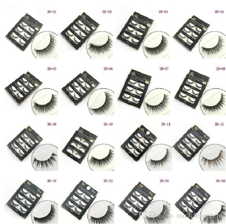 Doğal El Yapımı Siyah Yanlış Eyelashes Moda Makyaj Sahte Kirpikler Çapraz Dağınık Yumuşak 3D Göz Lashes 3 çift / set epacket tarafından dropshipping